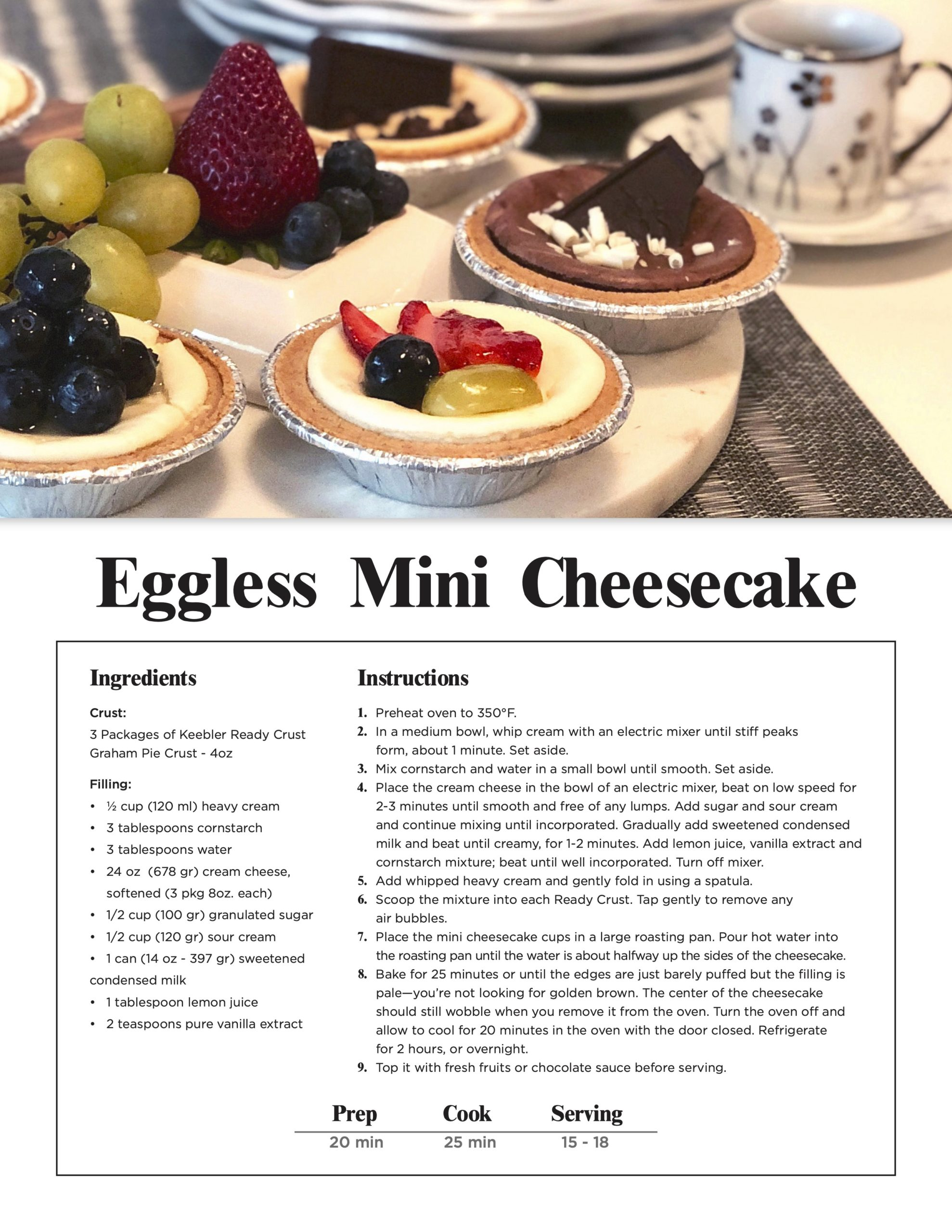 Eggless Mini Cheesecake